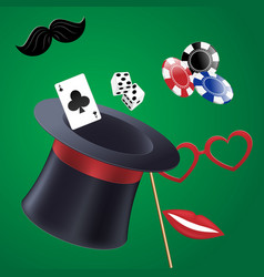 Casino party set of accessories vector