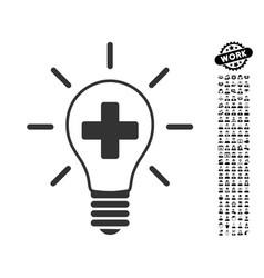 Creative medicine bulb icon with job bonus vector