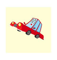 Cute and funny red car auto character happy and vector