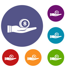 dollar in hand icons set vector image