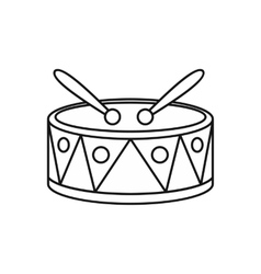 Drum with sticks icon outline style vector