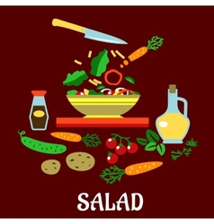 Flat concept of vegetable salad vector