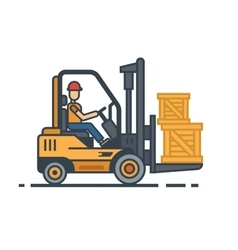 Forklift transporting boxes vector