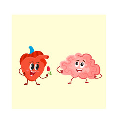 funny human heart and brain characters logic vector image vector image