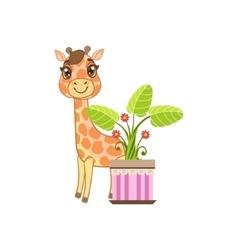 Giraffe Behind The Flower In Pot vector image vector image