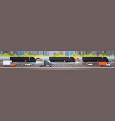 horizontal banner with black cargo truck trailers vector image vector image