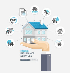 house insurance services business hands holding vector image