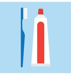 isolated toothpaste and tooth brushes vector image vector image