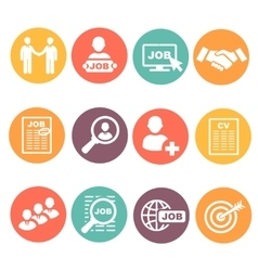 job hunting search human resources icons vector image vector image