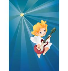 Kid angel musician guitarist flying on a night sky vector