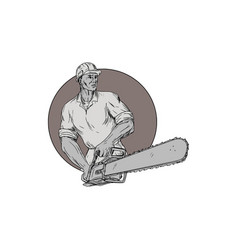 lumberjack arborist holding chainsaw oval drawing vector image vector image