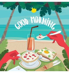 Man eating a continental breakfast on the ocean vector image vector image