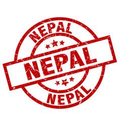 Nepal red round grunge stamp vector