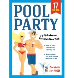 Pool party template for poster design vector