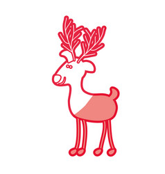 Red silhouette caricature of funny reindeer stand vector