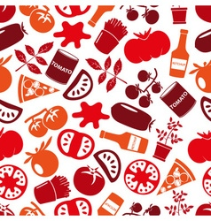 red tomatoes theme simple icons seamless pattern vector image vector image