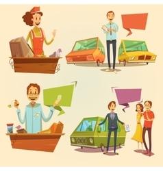 Salesman retro cartoon set vector