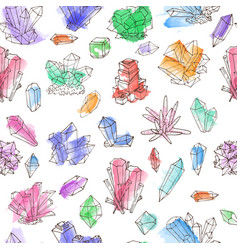 seamless background with colored doodle crystals vector image