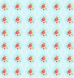 Seamless pattern with roses and damask elements vector