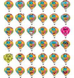 Set of colorful hot air balloon character emojis vector