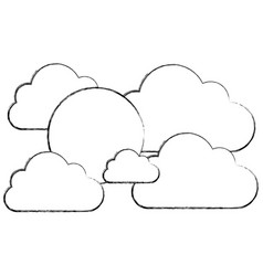 silhouette clouds with sun icon vector image vector image