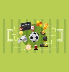Soccer football banner horizontal cartoon style vector