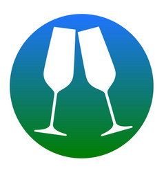 Sparkling champagne glasses white icon in vector