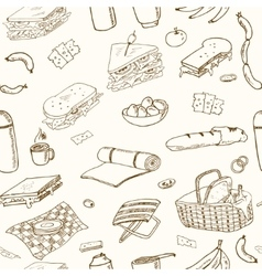 Summer picnic doodle seamless pattern Various vector image vector image