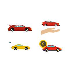 super car icon set flat style vector image