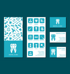 Template of flyer and business cards for dental vector