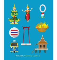 Thailand traditional and culture objects set vector