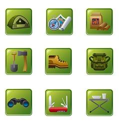 tourism equipment icon set vector image