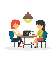 Woman work with laptop and smartphone vector