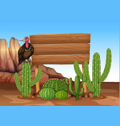 Wooden sign with cactus and vulture vector