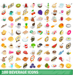 100 beverage icons set isometric 3d style vector image