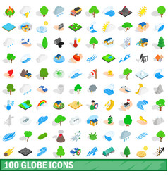 100 globe icons set isometric 3d style vector