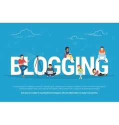 Blogging concept of young people vector