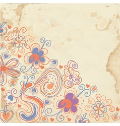 Floral background on the paper texture vector image