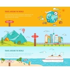 Travel concept colorful banners set vector