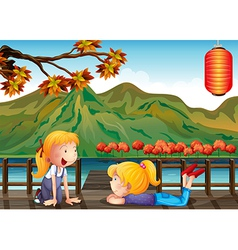 Two girls talking at the wooden bridge vector image