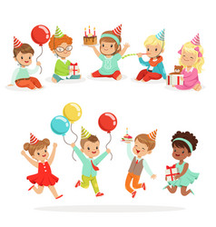 little children birthday celebration party with vector image