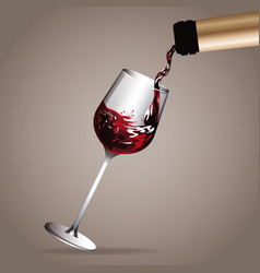 Glass cup pouring wine bottle vector