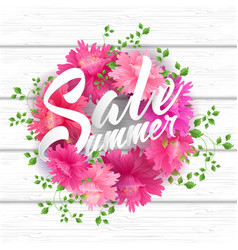 Summer sale lettering with blooming flowers vector