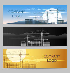 Construction company with building area banner set vector