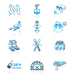 Alpine resort icons vector