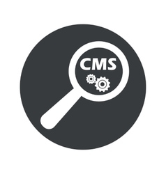 Monochrome round cms search icon vector
