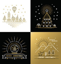 Merry christmas outline gold set label city xmas vector