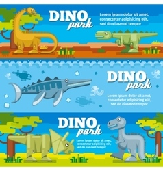 Dinosaur horizontal banners set in flat design vector