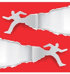 Paper running men vector