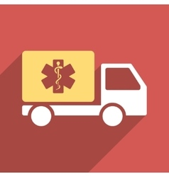 Medical shipment flat longshadow square icon vector